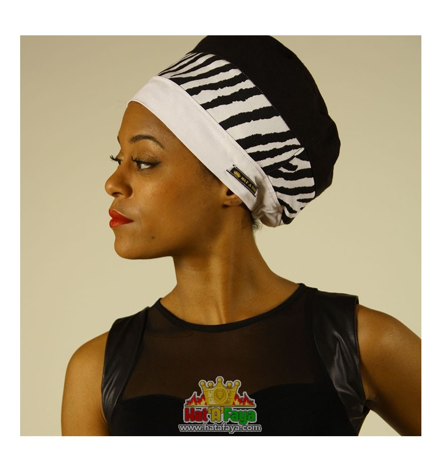 ZEBRA Black and White Tam for dreadlocks, summer Rasta hat for WOMEN