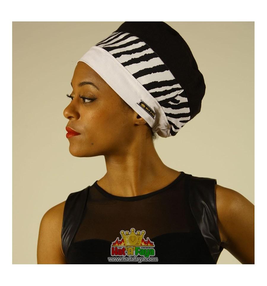 ZEBRA, Chapeau pour dreadlocks en tissu Noir et Blanc, Bonnet Rasta Femme, tour de tete unique 55-68 cm, Taille M-L