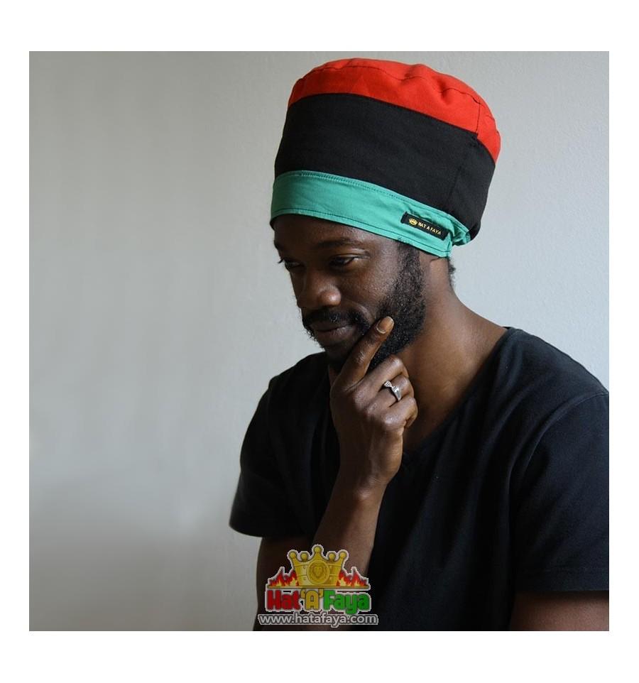 MARKUS, Chapeau dreadlocks ultraléger en tissu Rouge Noir Vert - Bonnet Rasta Femme ou Homme sur commande