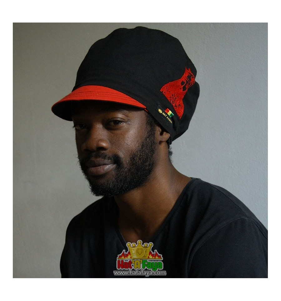 HIM SELASSIE I - Embroided cap for Dreadlocks, Red and black Rasta Crown, Hat for men or women Size M, OOAK Ready to ship.