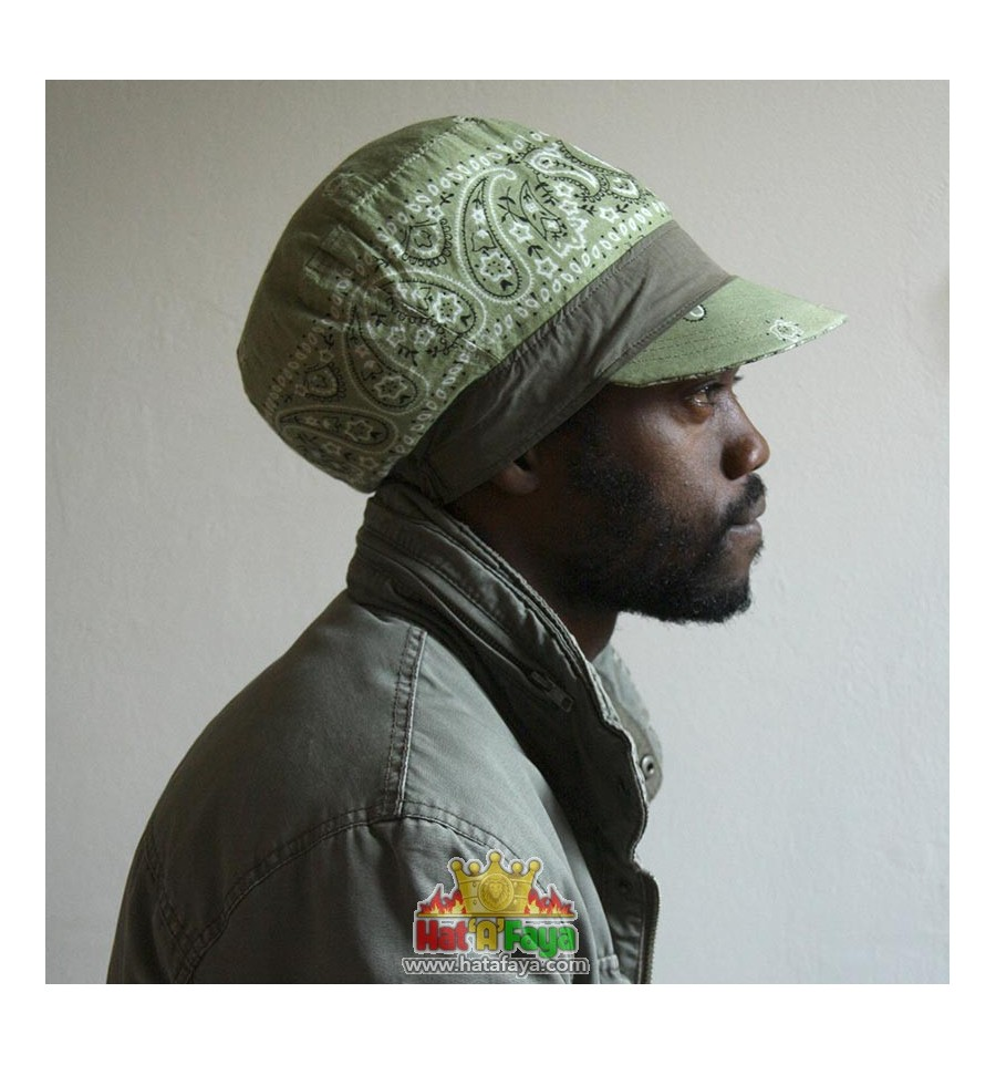 TWEED 2 - Bi Material Cap for dreadlocks , Tweed & Faux Leather Rasta hat, for MEN